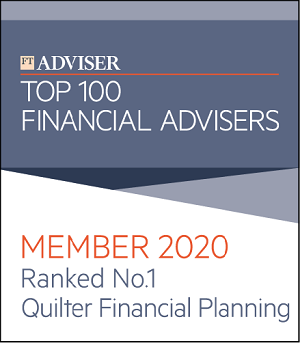 FT Adviser top 100 financial advisers - Member 2020 - Ranked number 1 - Quilter financial planning